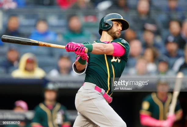Dustin Fowler of the Oakland Athletics in action against the New York Yankees at Yankee Stadium on May 13 2018 in the Bronx borough of New York City...