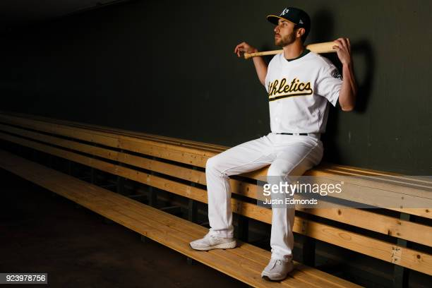 Dustin Fowler of the Oakland Athletics poses for a portrait during photo day at HoHoKam Stadium on February 22 2018 in Mesa Arizona