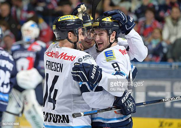 Dustin Friesen and Brandon Buck of ERC Ingolstadt celebrate after scoring the 25 during the DEL game between the Eisbaeren Berlin and ERC Ingolstadt...