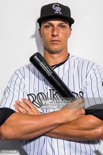 Dustin Garneau of the Colorado Rockies poses for a portrait at the Salt River Fields at Talking Stick on February 29 2016 in Sottsdale Arizona