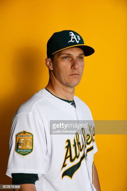Dustin Garneau of the Oakland Athletics poses for a portrait during photo day at HoHoKam Stadium on February 22 2018 in Mesa Arizona
