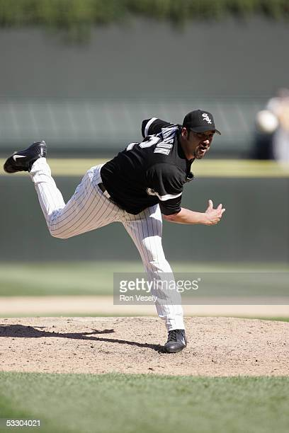 Dustin Hermanson of the Chicago White Sox delivers a pitch during the game against the Oakland Athletics at US Cellular Field on July 10 2005 in...