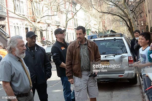 Dustin Hoffman and Adam Sandler on the set of director Noah Baumbach's Yah Din Ka Kissa on March 16 2016 in New York City