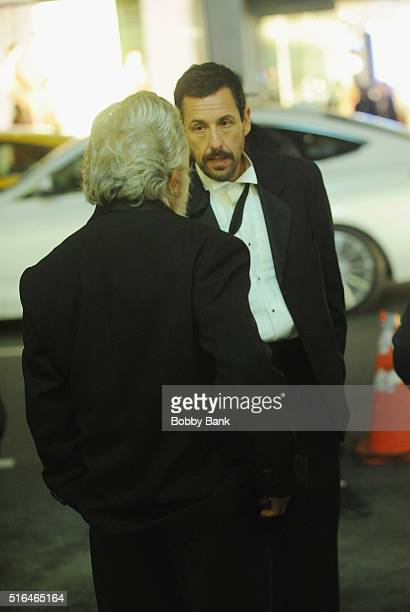 Dustin Hoffman and Adam Sandler on the set of director Noah Baumbach's Yah Din Ka Kissa on March 18 2016 in New York City