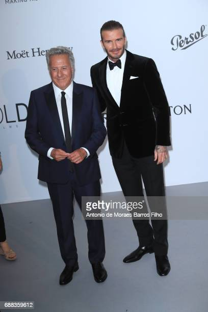 Dustin Hoffman and David Beckham arrive at the amfAR Gala Cannes 2017 at Hotel du CapEdenRoc on May 25 2017 in Cap d'Antibes France
