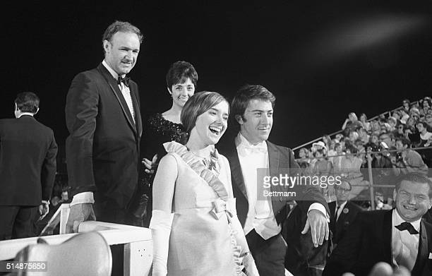 Dustin Hoffman and Gene Hackman at the 1968 Academy Awards, where Hoffman was nominated for Best Actor in The Graduate and Hackman was nominated for...