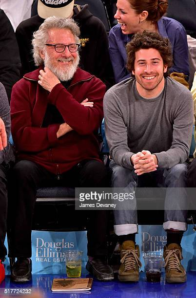 Dustin Hoffman and Jake Hoffman attend the Cleveland Cavaliers vs New York Knicks game at Madison Square Garden on March 26 2016 in New York City