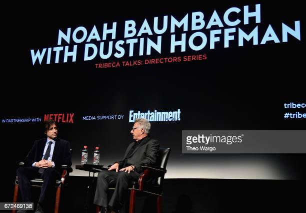 Dustin Hoffman and Noah Baumbach speaks onstage during Tribeca Talks Noah Baumbach at BMCC Tribeca PAC on April 24 2017 in New York City