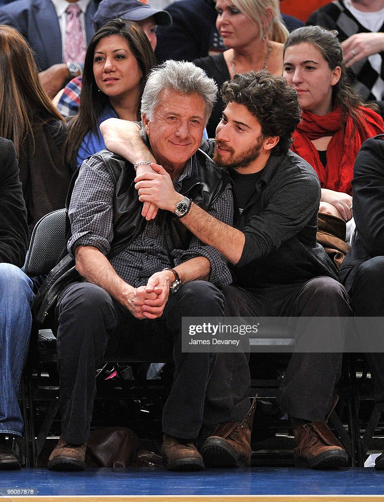 Dustin Hoffman (L) and son Jake Hoffman attend the Chicago Bulls vs New York Knicks game at Madison Square Garden on December 22, 2009 in New York City.
