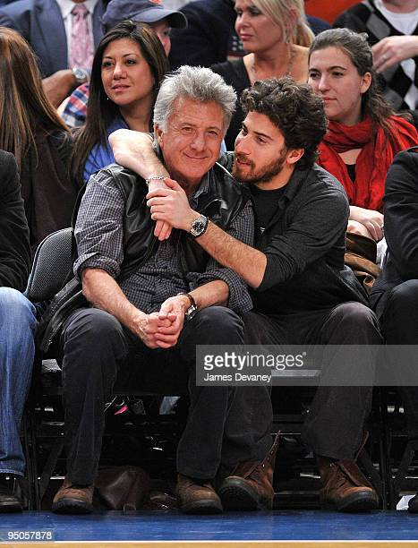 Dustin Hoffman and son Jake Hoffman attend the Chicago Bulls vs New York Knicks game at Madison Square Garden on December 22 2009 in New York City