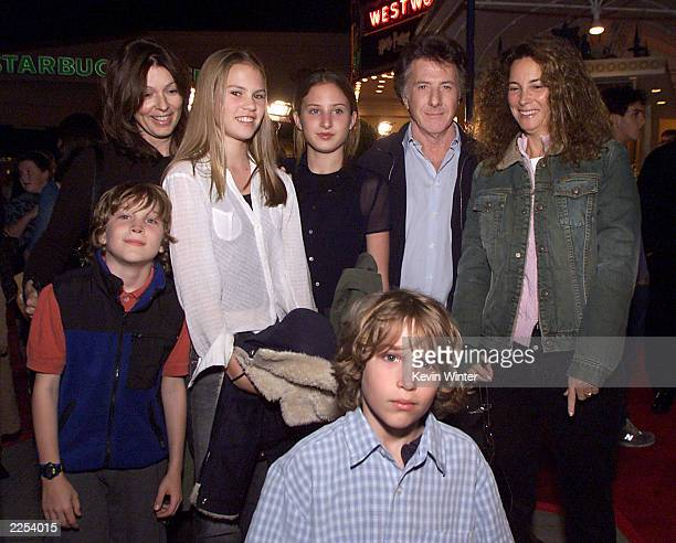 """Dustin Hoffman and wife Lisa with their children and friends at the premiere of """"Harry Potter and the Sorcerer's Stone"""" in Los Angeles, Ca...."""