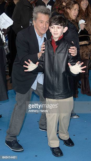 Dustin Hoffman and Zach Mills attend the premiere of 'Mr Magorium's Wonder Emporium' on November 25 2007 in London