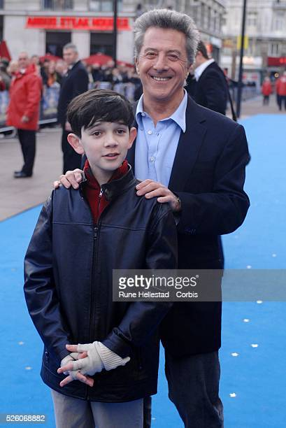 Dustin Hoffman and Zach Mills attend the premiere of 'MrMagorium's Wonder Emporium' at Empire Leicester Square