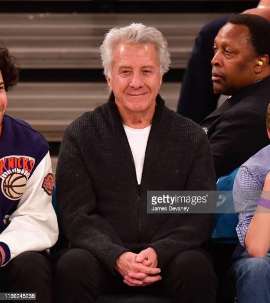 Dustin Hoffman attends Detroit Pistons v New York Knicks game at Madison Square Garden on April 10 2019 in New York City