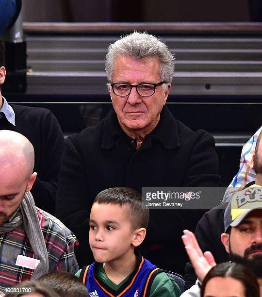 Dustin Hoffman attends New York Knicks vs Washington Wizards game at Madison Square Garden on December 25 2014 in New York City