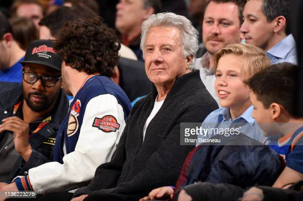 Dustin Hoffman attends the game between the Detroit Pistons and the New York Knicks on April 10 2019 at Madison Square Garden in New York City New...