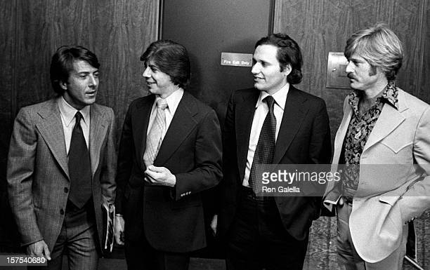 Dustin Hoffman Carl Bernstein Bob Woodward and Robert Redford attend the premiere of All The President's Men on April 4 1976 at the Kennedy Center in...