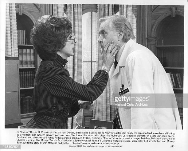 Dustin Hoffman holds George Gaynes' face in a scene from the film 'Tootsie' 1982