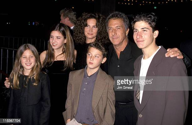 """Dustin Hoffman, Lisa Hoffman, and children during Premiere of """"Wag The Dog"""" at Cineplex Odeon Cinema in Century City, California, United States."""