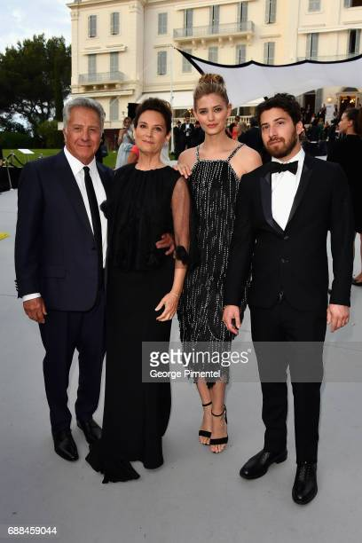 Dustin Hoffman Lisa Hoffman Jenna Kelly and Jake Hoffman arrive at the amfAR Gala Cannes 2017 at Hotel du CapEdenRoc on May 25 2017 in Cap d'Antibes...