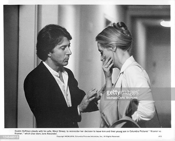 Dustin Hoffman pleads with Meryl Streep to reconsider her decision to leave him and her young son in a scene from the film 'Kramer vs. Kramer', 1979.