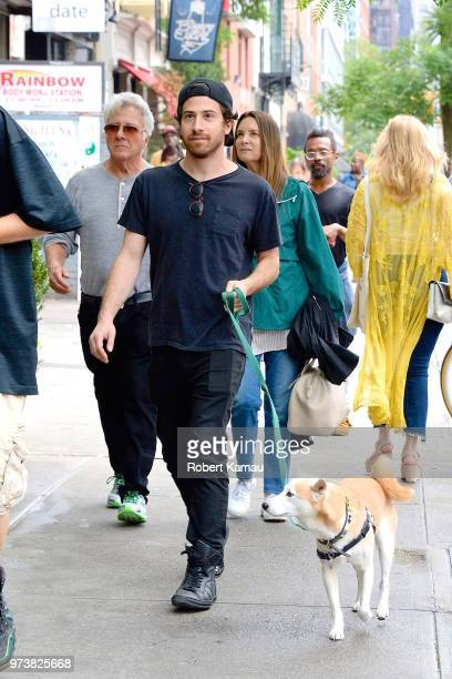 Dustin Hoffman wife Lisa Hoffman and son Jake Hoffman seen out for a dog walk in Manhattan on June 13 2018 in New York City
