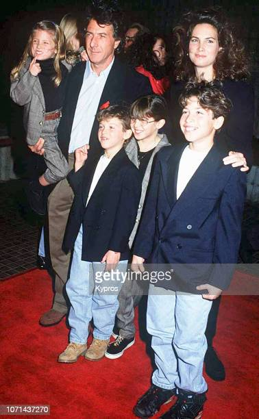 Dustin Hoffman with his wife, American businesswoman Lisa Hoffman and their children Jake Hoffman, Rebecca Hoffman, Max Hoffman, and Alexandra...