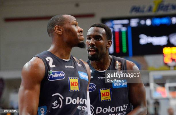 Dustin Hogue and Dominique Sutton of Dolomiti Energia during LegaBasket Serie A Playoffs match 3 beetwen Dolomiti Energia Trentino and EA7 Emporio...