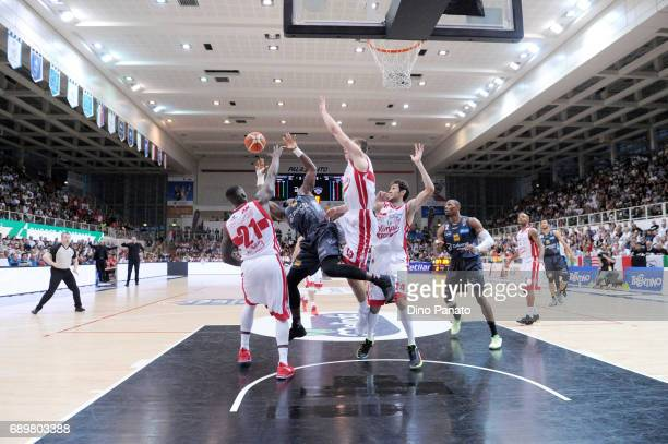 Dustin Hogue of Dolomiti Energia Trentino shoots the ball against during LegaBasket Serie A Playoffs match 3 beetwen Dolomiti Energia Trentino and...