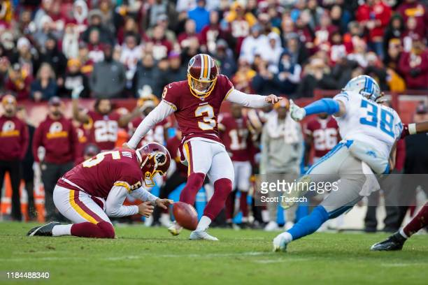 Dustin Hopkins of the Washington Redskins kicks the game winning field goal against the Detroit Lions during the second half at FedExField on...