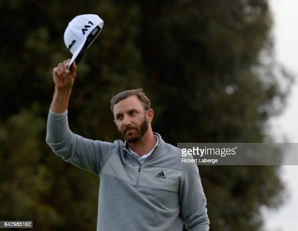 Dustin Johnson celebrates his win on the 18th hole during the final round at the Genesis Open at Riviera Country Club on February 19 2017 in Pacific...