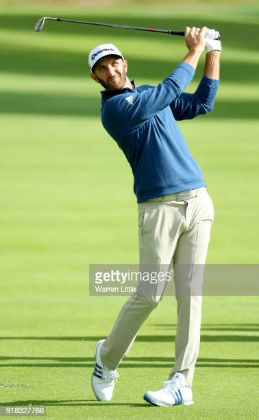 Dustin Johnson competes during the ProAm of the Genesis Open at the Riviera Country Club on February 14 2018 in Pacific Palisades California