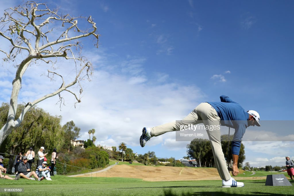Dustin Johnson competes during the Pro-Am of the Genesis Open at the Riviera Country Club on February 14, 2018 in Pacific Palisades, California.
