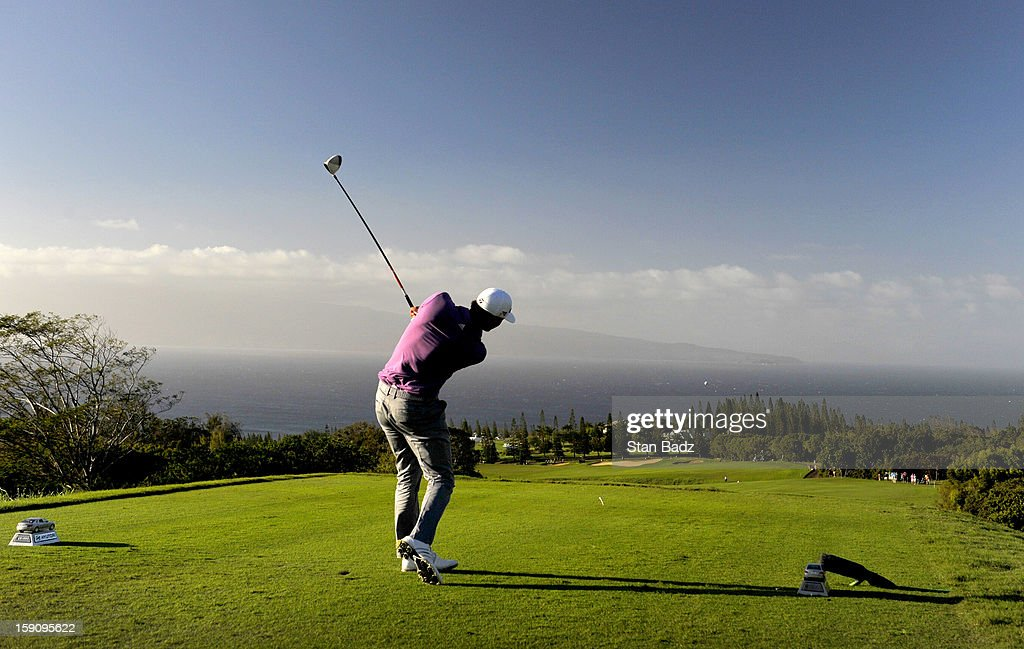Dustin Johnson hits a drive on the 17th hole during the second round of the Hyundai Tournament of Champions at Plantation Course at Kapalua on January 7, 2013 in Kapalua, Maui, Hawaii.