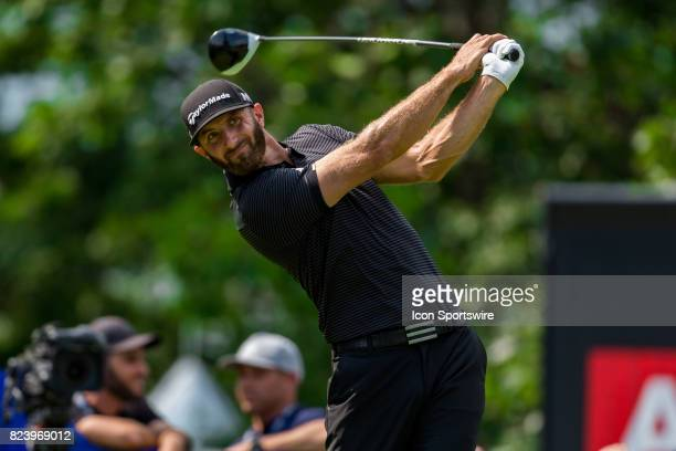 Dustin Johnson hits a driver tee shot during first round action of the RBC Canadian Open on July 27 at Glen Abbey Golf Club in Oakville ON Canada