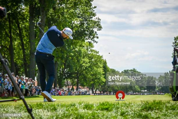 Dustin Johnson hits his drive on the 5th tee during the Rocket Mortgage Classic Golf Tournament on Friday June 27, 2019 at Detroit Golf Club in...