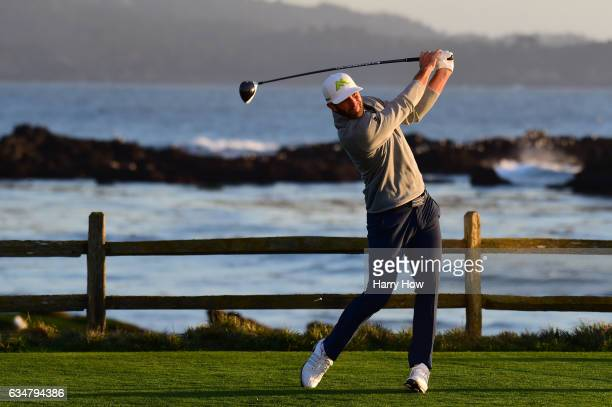 Dustin Johnson hits his tee shot on the 18th hole during Round Three of the ATT Pebble Beach ProAm at Pebble Beach Golf Links on February 11 2017 in...