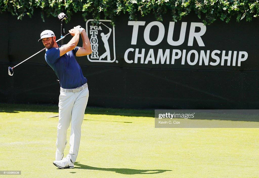 Dustin Johnson hits his tee shot on the first hole during the final round of the TOUR Championship at East Lake Golf Club on September 25, 2016 in Atlanta, Georgia.