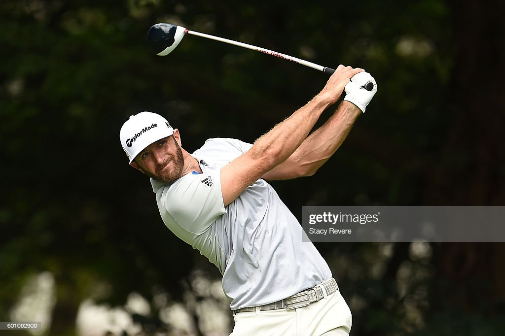 Dustin Johnson hits his tee shot on the second hole during the second round of the BMW Championship at Crooked Stick Golf Club on September 9, 2016 in Carmel, Indiana.