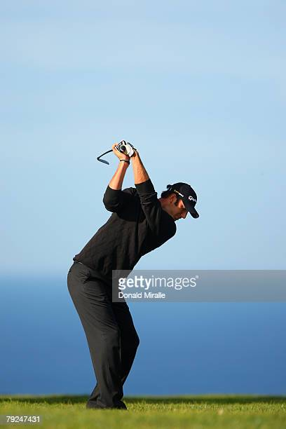 Dustin Johnson hits off the 1st fairway during the second round of the Buick Invitational on January 25, 2008 at the Torrey Pines Golf Course in La...