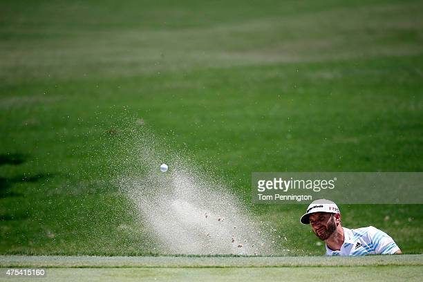 Dustin Johnson hits out of the sand on the seventh hole during the Final Round of the ATT Byron Nelson at the TPC Four Seasons Resort Las Colinas on...