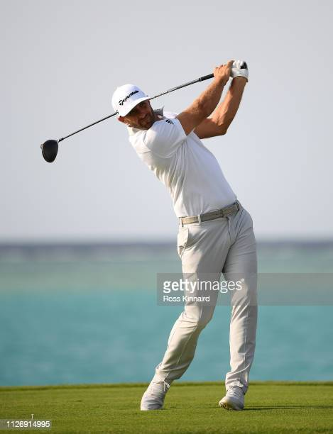 Dustin Johnson in action during the third round of the Saudi International at the Royal Greens Golf Country Club on February 02 2019 in King Abdullah...