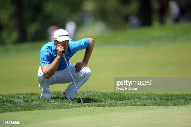 Dustin Johnson lines up a putt attempt during the second round of the AT&T National at Aronimink Golf Club on July 2, 2010 in Newtown Square,...
