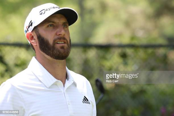 Dustin Johnson looks on after his tee hot on hole 14th during the first round of World Golf ChampionshipsMexico Championship at Club de Golf...