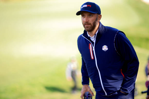 Dustin Johnson of team United States walks during a practice round prior to the 43rd Ryder Cup at Whistling Straits on September 22, 2021 in Kohler,...