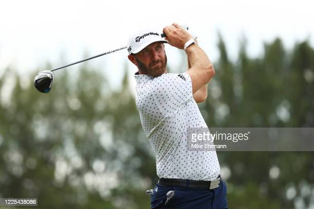 Dustin Johnson of the American Nurses Foundation team plays his shot from the ninth tee during the TaylorMade Driving Relief Supported By...