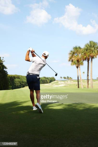 Dustin Johnson of the American Nurses Foundation team plays his shot from the 12th tee during the TaylorMade Driving Relief Supported By UnitedHealth...