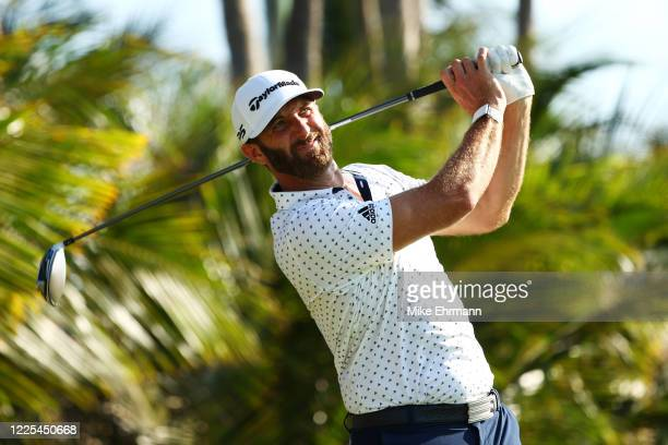 Dustin Johnson of the American Nurses Foundation team plays his shot from the 16th tee during the TaylorMade Driving Relief Supported By UnitedHealth...