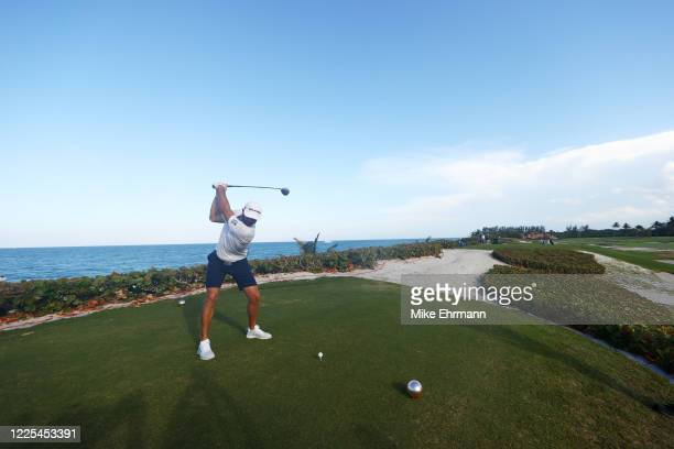 Dustin Johnson of the American Nurses Foundation team plays his shot from the 18th tee during the TaylorMade Driving Relief Supported By UnitedHealth...