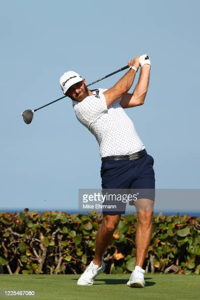 Dustin Johnson of the American Nurses Foundation team plays his shot from the 15th tee during the TaylorMade Driving Relief Supported By UnitedHealth...